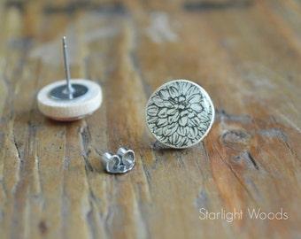 Black and white flower stud earrings. boho Flower studs.  Post earrings eco friendly jewelry, wood earrings, minimalist jewelry for her