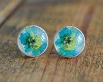 turquoise Blue watercolor wooden studs stud earrings turquoise flower post earrings blue earrings flower earrings etsy