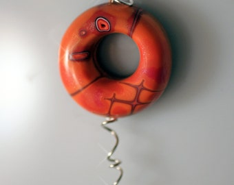 Polymer Clay Orange Air Pendant - WEARABLE ART!!!