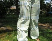 Handmade Drawstring Pants Plaid Spring Hippie Pants Vintage fabric pants