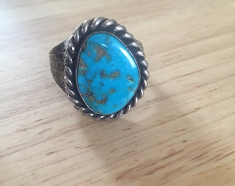 Navajo Old Pawn Handmade Sterling Silver Turquoise Ring size 11.5