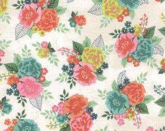 Basicgrey Fresh Cut for Moda - Floral Gardenia Row - Natural - Coconut - 1/2 yard cotton quilt fabric 516