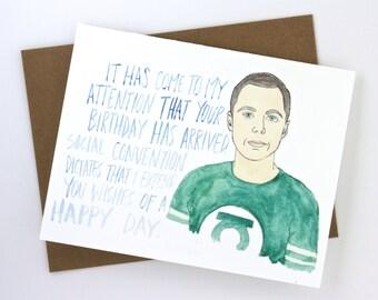 Big Bang Theory// Sheldon Birthday Card
