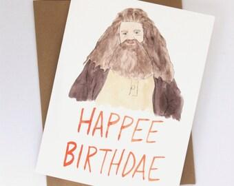 Hagrid Happee Birthdae // Harry Potter Card