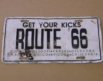 Vintage 1960's Route 66 License Plate