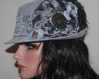 Gray Velvet Vintage Style Steampunk Fedora