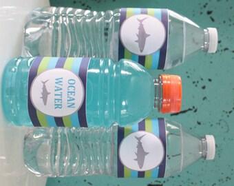 PREPPY SHARK Happy Birthday or Baby Shower Water Bottle Labels Set of 12 {One Dozen} Green Blue