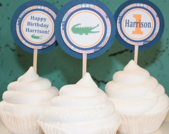 PREPPY PLAID ALLIGATOR Themed Baby Shower Cupcake Toppers 12 {One Dozen} - Party Packs Available