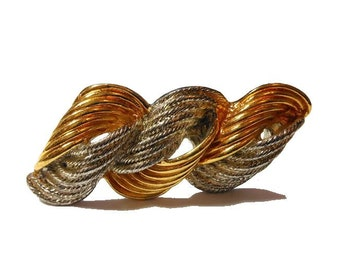 Liz Claiborne brooch, signed gold and silver plated bar pin, ribbons of color in smooth and rope texture form a swirl pattern