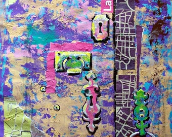 "SALE Original abstract mixed media old door detail and wall in Mexico 19.5"" x 25.5"""