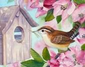Bird Art Print Wren Nest in Tree 5x7 Limited Edition Fine Art by Janet Zeh