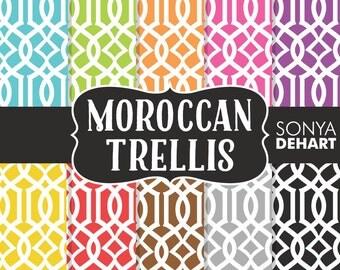 60% OFF SALE Digital Paper Moroccan Trellis Damask Quatrefoil Paper Pattern DP123