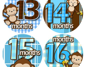 Bodysuit Romper Stickers - Month to Month baby stickers - Baby monthly stickers 13 - 24 months - Monthly Baby Stickers - BOY BANANA MONKEY