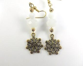Double snowflake earrings