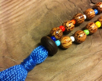 54 Bead Meditation Mala, Coco-palm Wood with Multicolor Spacers, Blue Tassel