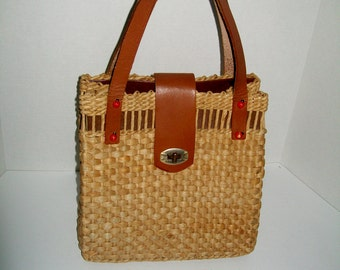 Vintage Straw Purse Leather Lined Ladybug Accents  British Tan Silver Hardware