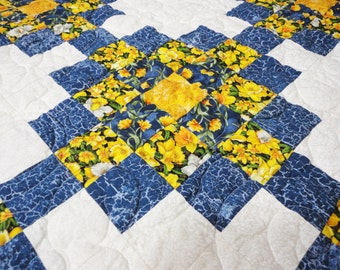 """Vintage Spring Quilt with Daffodils - Full / Queen Size - Yellow & Blue Cottons - 86"""" x 84"""""""