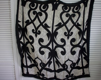 Vintage Silk Designer Scarf Black and White Signed Shawl/Scarf Satya Paul