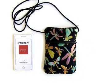iPhone Cross Body Sling Bag Hipster Dragonflies on Black
