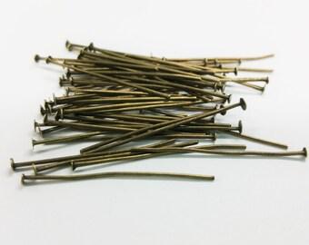 55 PCS - 30MM Head Pin Headpin Finding Bronze C0978
