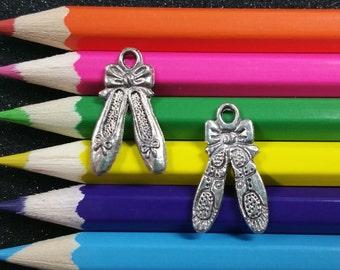 10 PCS - Ballet Dance Slippers Silver Charm Pendant C0118