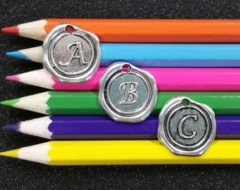 26 PC - Letter Alphabet Wax Seal Set Silver Charm Pendant C0369
