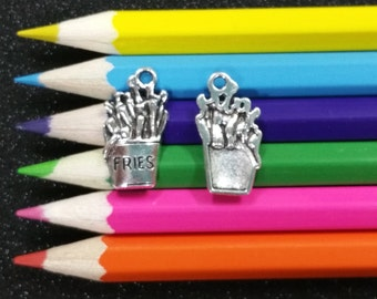 10 PCS - French Fries Fast Food Silver Charm Pendant C0473