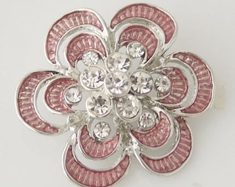 1 PC XL Fits 18MM Pink Flower Rhinestones Silver Candy Snap Charm Kb7085 Cc0639