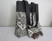 Gift Set Woman's fabric midsize handbag bonus case lined interlined black cream pattern black duck band RTS