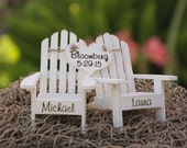 Personalized Cake Topper Adirondack Chairs-Beach Wedding-Cottage Wedding-Shabby Chic - Mr. & Mrs. Heart Banner Adirondack Chair Cake Toppers