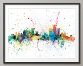 Detroit Skyline, Detroit Michigan Cityscape Art Print (1973)