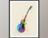 Electric Guitar, Abstract Watercolor Music Instrument Art Print (1995)