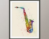 Saxophone, Abstract Watercolor Music Instrument Art Print (1997)