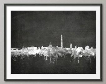 Washington DC Skyline, Washington DC Cityscape Art Print (1901)