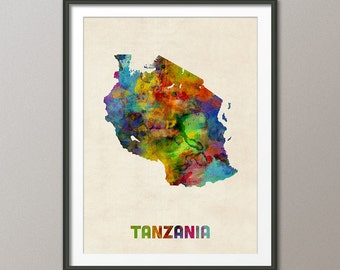 Tanzania Watercolor Map, Art Print (1990)