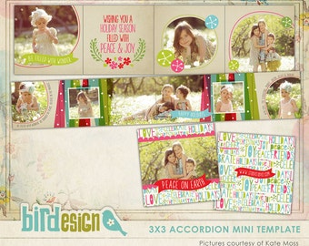 INSTANT DOWNLOAD - Christmas Accordion mini template 3x3 - Christmas colors - E542