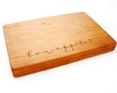 Thick Cherry Cutting board. Bon Appetit. Two-inch thick solid cherry for 5th anniversary present. Large wooden engraved board.