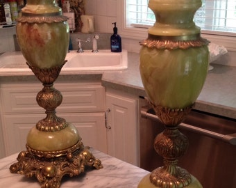 Vintage Green Onyx Lamps-sold seperately 2 available