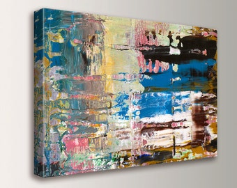 """Modern Abstract Art - Mid Century Wall Art - CANVAS - Gallery Wrapped Archival Print - Colorful Wall Art - """" Integration """""""
