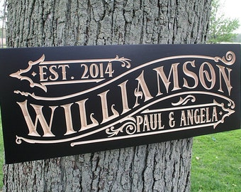 Established Sign Personalized Custom, Wooden Family Established Signs, Custom Wooden Family Name Sign, Maple WM2
