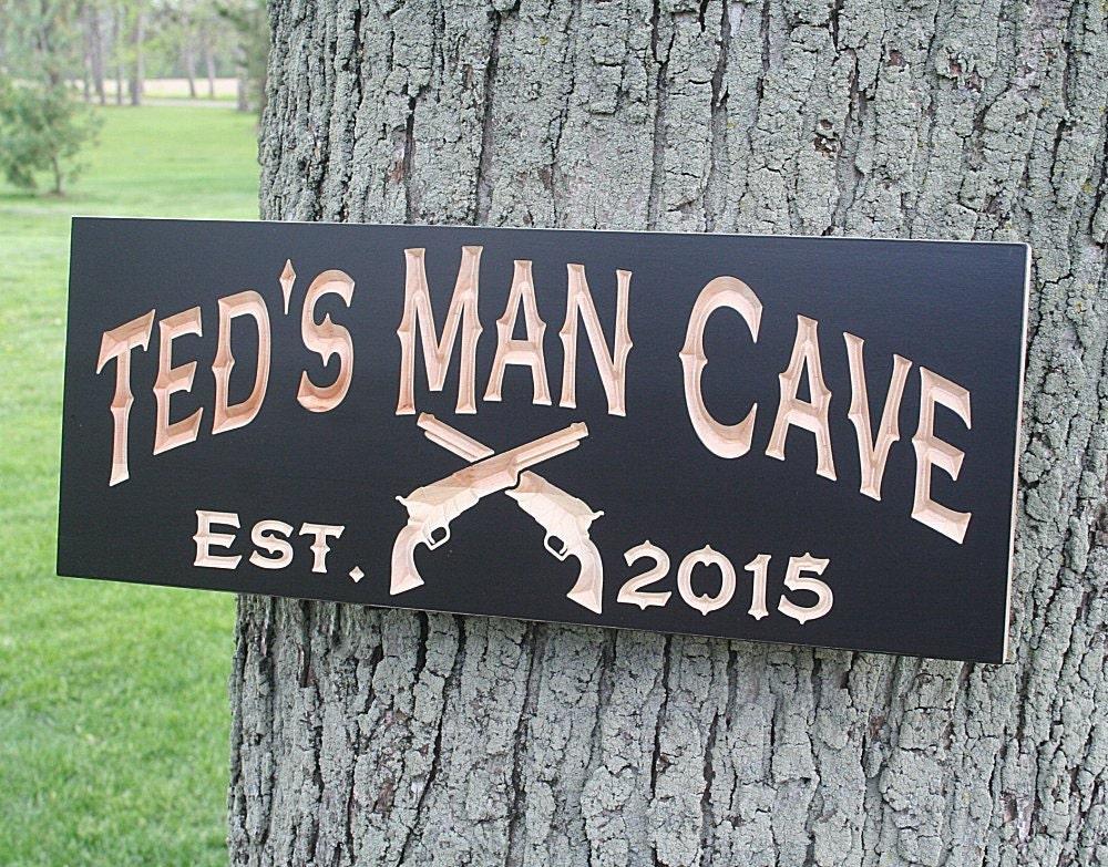 custom man cave sign guy gift rustic man cave sign carved. Black Bedroom Furniture Sets. Home Design Ideas