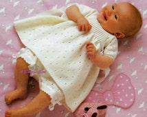 Baby 3 ply Beautiful Dress with panties and 4 ply  Rompers and short sleeve Jacket for sizes 17 - 22 ins -  PDF of Vintage Knitting Patterns
