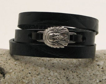 EXPRESS SHIPPING Indian Bracelet. Mens leather bracelet. Mens bracelet. Black leather bracelet. Indians bracelet with silver plated clasp.