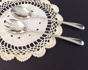 """Simple Salad Fork and Spoon... Silverplate Italy Measureing 9"""""""
