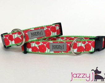 Red Poppies Summer Flowers Dog Collar