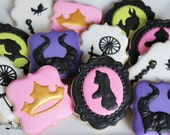 Sleeping Beauty Inspired Decorated Cookies, Sleeping Beauty, Maleficent, Angelina Jolie Inspired, Character Inspired, Birthday Party