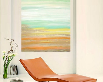 Art and Collectibles, Painting, Original Art,Abstract Art, Acrylic Painting, Seascape, Beach by Ora Birenbaum Titled: Sun Kissed 30x40x1.5""