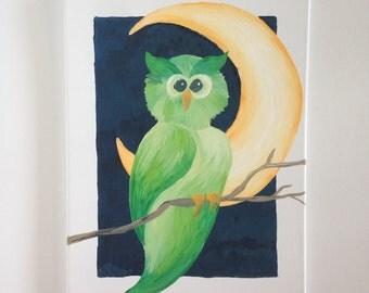 Owl Moon Night Tree Painting Art Original Funky Unique Whimsical Nature Bird Midnight Orange Green Sky Pop Graphic Colorful Kids Decor Trend