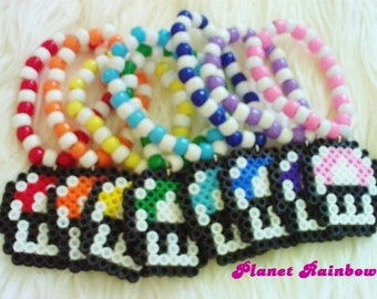 Perler Bead Mushroom Kandi Bracelet - You Choose Color