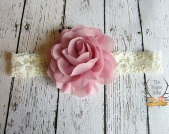 Ivory Cream Lace Headband with Chiffon Rose Flower -   Newborn Infant Baby Toddler Girls Adult Rustic Wedding